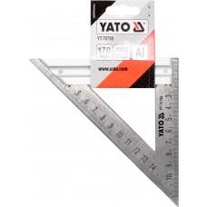 Кутник столярний Yato з прямим кутом і 2-а метричними шкалами, 170мм