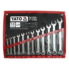 Ключі Yato рожково-накидні, 8-24мм, в чохлі 12шт