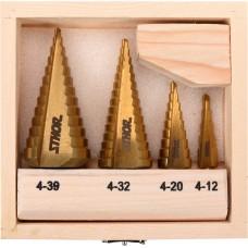 Свердла ступінчаті по металу Sthor 4-39мм, HSS, 4шт