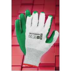 Рукавиці REIS RECOGREEN WZ бавовняні з гумовим покриттям, біло-зеленого кольору, розмір 10